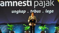 Menteri Keuangan Sri Mulyani memberikan sambutan saat farewell atau perpisahan dengan program pengampunan pajak atau tax amnesty di Jakarta, Selasa (28/2). Penerimaan tax amnesty hingga hari ini telah mencapai Rp 112 triliun.(Liputan6.com/Angga Yuniar)