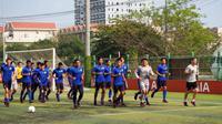 Timnas Malaysia U-22 saat latihan jelang melawan Timnas Indonesia U-22 di Phnom Penh, Selasa (19/2/2019). (Bola.com/Dok. FAM)