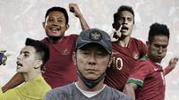 Pemain Timnas Indonesia  dan Shin Tae-yong. (Bola.com/Dody Iryawan)