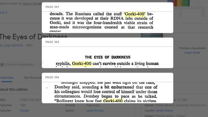 Cek Fakta: Novel The Eyes of Darkness Ramalkan Wabah Virus Corona 40 Tahun Lalu?  (Google Books)