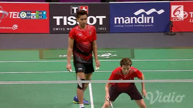 Owi Butet berhasil mengalahkan ganda campuran Korea Selatan 2 set langsung