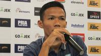 Bek Persela, Eky Taufik, jelang melawan Persib di Bandung, Minggu (15/7/2018). (Bola.com/Muhammad Ginanjar)