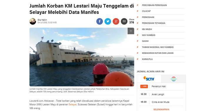 [Cek Fakta] Kapal Fery Makassar-Selayar Karam di Tengah Laut, Faktanya?