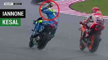 Berita video momen Marc Marquez membuat Andrea Iannone tampak kesal saat kualifikasi MotoGP Malaysia, Sabtu (3/11/2018).