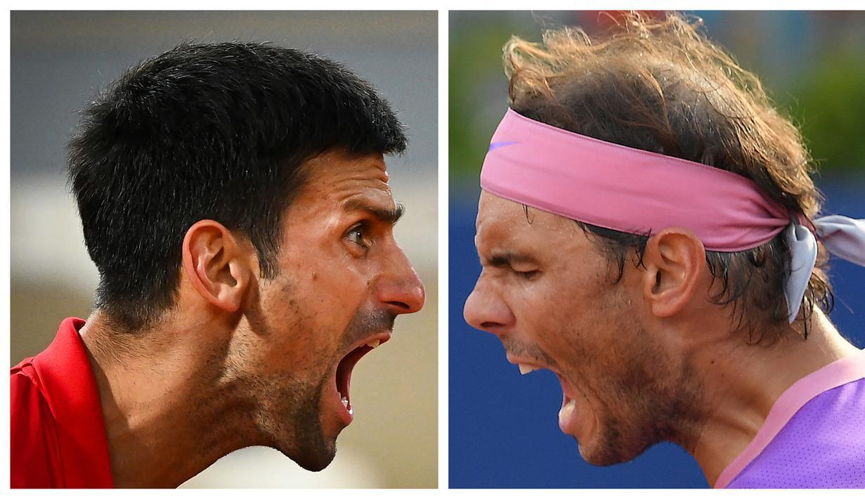 Pada babak perempatfinal Novac Djokovic berhadapan dengan Matteo Berrettini, petenis asal Italia sedangkan Rafael Nadal berjumpa dengan  Roland Garros, petenis asal Argentina. (Foto Kolase: AFP)