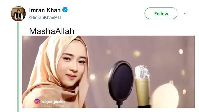 Perdana Menteri Pakistan Imran Khan mengunggah video Nissa Sabyan di Twitter.