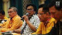 Ketua Umum Partai Hanura Oesman Sapta Odang saat memimpin rapat koordinasi Ketua DPD Partai Hanura di Jakarta, Rabu (6/6). Rapat membahas komunikasi dan koordinasi DPD Partai Hanura se-Indonesia. (Liputan6.com/JohanTallo)