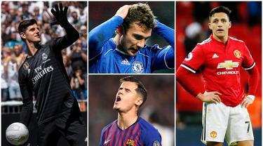 Berikut ini tujuh pemain top dunia yang akhirnya terpuruk saat pindah klub. Diantaranya ada Thibaut Courtois, Philippe Coutinho hingga Andriy Shevchenko. (Foto Kolase AP, EPA dan AFP)
