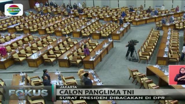 Surat rekomendasi pengganti Jendral TNI Gatot Nurmantio yang diajukan Presiden Jokowi disetujui, Marsekal TNI Hadi Tjahjanto akan dites.