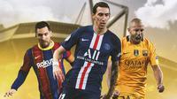 Ilustrasi - Lionel Messi, Angel Di Maria, Javier Mascherano (Bola.com/Adreanus Titus)