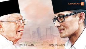 Banner Infografis Headline Adu Amunisi Ma'ruf Amin Vs Sandiaga Uno.(Www.sulawesita.com)
