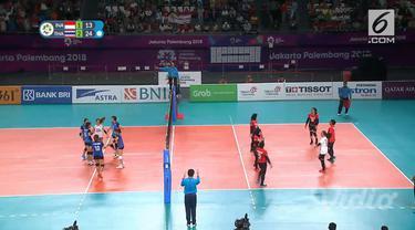 Voli Putri Indonesia kalah 1-3 dari Thailand di babak penyisihan Grup A di lapangan Tennis Indoor Gelora Bung Karno. Meski kalah, Indonesia tetap lolos ke babak 16 besar.