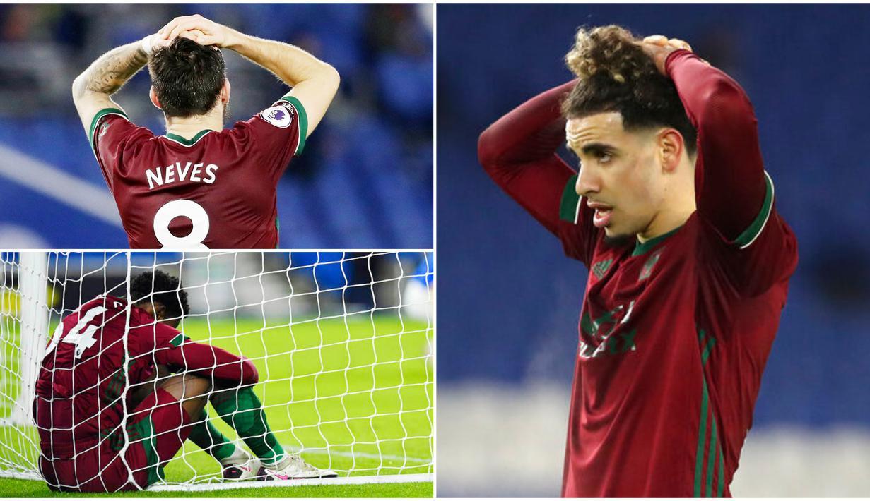Para pemain Wolverhampton Wanderers tak mampu menutupi kekecewaan usai gagal menang di Markas Brighton and Hove Albion pada laga Liga Inggris. Sempat unggul 3-1, namun sayang wolves harus rela berbagi poin setelah laga berakhir dengan skor 3-3.