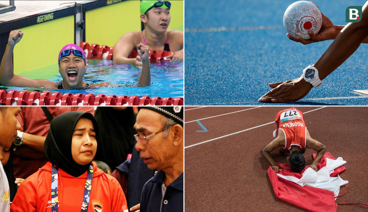 Momen Pilihan Asian Para Games 2018 Hari ke-2 diwarnai dengan suka dan duka perjuangan atlet Indonesia. Mulai dari emas cabang atletik dan renang hingga kesedihan di cabang judo. (Tim Bola.com)
