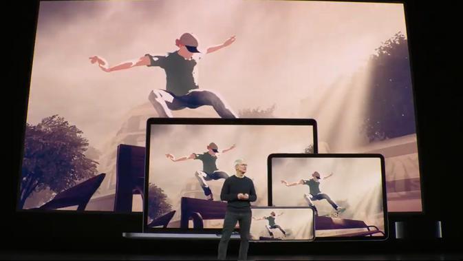Tim Cook di panggung acara setelah Apple Arcade diperkenalkan. Kredit: YouTube resmi Apple