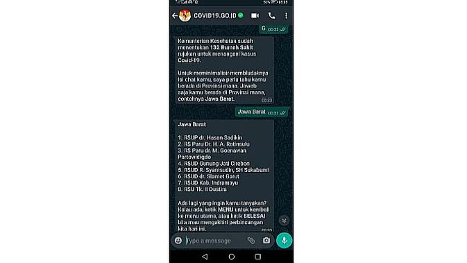 Chatbot WhastApp soal informasi Covid-19 (screenshot)