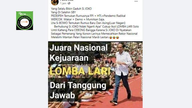 Cek Fakta Liputan6.com menelusuri klaim foto Jokowi juara lomba lari dari tanggung jawab