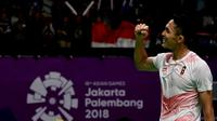 Istora Senayan bergemuruh ketika pertandingan 32 besar tunggal putra Asian Games 2018, Jumat (24/8/2018). Ketika itu, pebulutangkis putra Indonesia, Jonatan Christie, meraih kemenangan atas wakil China, Shi Yuqi. (INASGOC)
