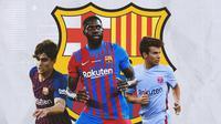 Barcelona - Alex Collado, Samuel Umtiti, Riqui Puig (Bola.com/Adreanus Titus)