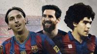 Bintang-bintang Barcelona: Zlatan Ibrahimovic, Lionel Messi dan Diego Maradona. (Bola.com/Dody Iryawan)
