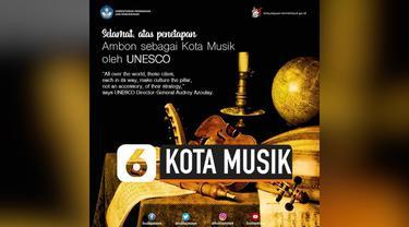 UNESCO menetapkan kota Ambon sebagai kota musik dunia. Ini disampaikan langsung oleh Dirjen UNESCO, Kamis (31/10/2019).