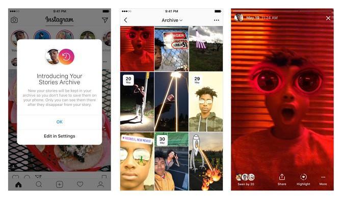Instagram Stories kini bisa disimpan pengguna di folder archive (kredit: Instagram)