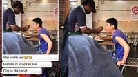 Viral Foto Pelayan Restoran Suapi Difabel (Sumber: Twitter/najib_fiqri)
