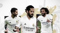 Eden Hazard, Isco dan Marcelo. (Bola.com/Dody Iryawan)