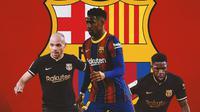 Barcelona - Martin Braithwaite, Junior Firpo, Samuel Umtiti (Bola.com/Adreanus Titus)