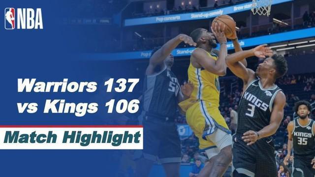 Berita video highlights NBA 2020/2021, Golden State Warriors menang atas Sacramento Kings 137-106, di mana Stephen Curry menorehkan 30 poin, Selasa (5/1/2021) siang hari WIB.
