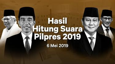 Berikut hasil hitung suara Pemilu 2019 yang sudah masuk di situs pemilu2019.kpu.go.id pada Senin 6 Mei 2019.