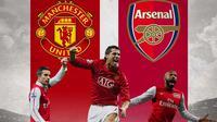 Ilustrasi - Pencetak Gol terbanyak Manchester United Vs Arsenal (Bola.com/Adreanus Titus)