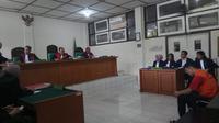 Salah satu terdakwa kasus narkoba yang mendapat vonis mati dari Majelis Hakim PN Kelas 1 Palembang (Liputan6.com / Nefri Inge)