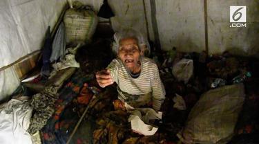 Mbah Marinem hidup sebatang kara di sebuah gubuk yang dipenuhi sampah.