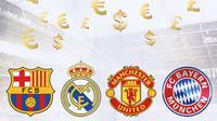 Ilustrasi - Barcelona, Real Madrid, Manchester United, Bayern Munchen, Euro, Pounds, Dollar (Bola.com/Adreanus TItus)