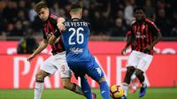 Striker AC Milan, Krzysztof Piatek, berusaha melewati bek Empoli, Matias Silvestre, pada laga Serie A di Stadion San Siro, Milan, Jumat (22/2). Milan menang 3-0 atas Empoli. (AFP/Marco Bertorello)