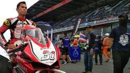 Pebalap Astra Honda Racing Team, Gerry Salim, bersiap jelang balapan ARRC 2017 di Sirkuit Buriram, Thailand, Sabtu (2/12/2017). Gerry Salim menjadi rider Indonesia pertama yang menjuarai ARRC kelas Asia Production 250. (Bola.com/Muhammad Wirawan)
