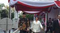 Komandan Kogasma Partai Demokrat, Agus Harimurti Yudhoyono (AHY) dan istrinya Annisa Pohan silaturahmi Idul Fitri dengan Presiden Jokowi di Istana, Rabu (5/6/2019). (Merdeka.com/ Intan Umbari Prihatin