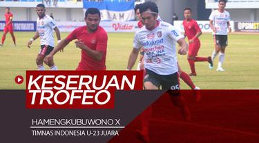 Berita video highlights event Trofeo Hamengkubuwono X Cup 2019 di mana Timnas Indonesia U-23 menjadi juara setelah mengalahkan Bali United dan PSIM Yogyakarta, Minggu (8/9/2019).