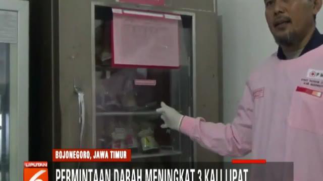 Penderita demam berdarah meningkat di Bojonegoro, Jawa Timur, permintaan darah naik tiga kali lipat.