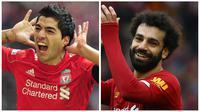 Liverpool punya dua penyerang tajam dalam satu dekade terakhir. yakni Luis Suarez dan Mohamed Salah. (AFP)