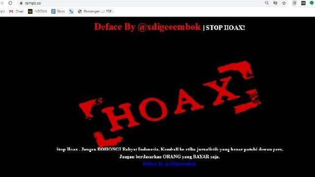 Situs Berita Tempo.co Diserang Hacker. Dok: Tempo.co