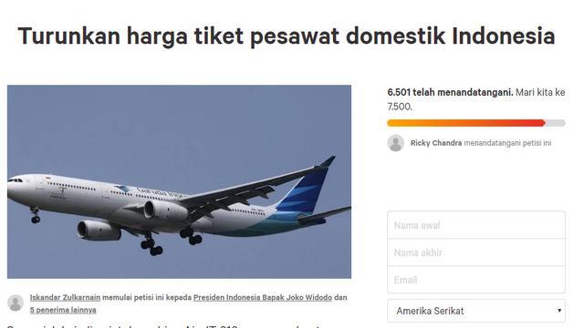 Harga Tiket Pesawat Domestik Naik Gila Gilaan Warganet Petisi