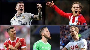 Berikut ini 10 pemain yang masuk nominasi penghargaan Ballon d'Or 2017. Diantaranya, Antoine Griezmann, David De Gea hingga Toni Kroos. (Foto-foto Kolase AP, EPA dan AFP)