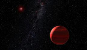 """Konsepsi seniman tentang sebuah planet di orbit di sekitar """"kurcaci merah"""". (European Southern Observatory)"""
