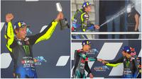 Berikut ini ekspresi bahagia Valentino Rossi setelah berhasil kembali naik podium Motogp