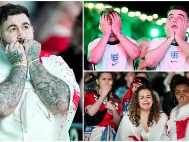 Fans Timnas Inggris kembali harus mengubur dalam-dalam kerinduannya untuk melihat Tim Tiga Singa menjadi juara. Duka semakin terasa bagi suporter lantaran kegagalan terjadi di rumah sendiri. Berikut reaksi fans Inggris usai gagal juara Euro 2020 (Euro 2021).