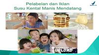 Anjuran BPOM tentang iklan susu kental manis (Screenshot presentasi BPOM Bijak Mengonsumsi Susu Kental Manis (SKM) dan Produk Sejenis)