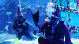 Penyelam berkostum sinterklas meyapa pengunjung di dalam air yang dihias pohon natal di Jakarta Aquarium dan Safari, Mal Neo Soho, Grogol, Jakarta, Kamis (24/12/2020). Pertunjukan tersebut untuk mengisi libur Natal dan Tahun Baru 2021. (Liputan6.com/Angga Yuniar)