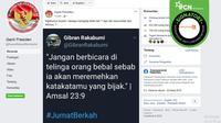 Twit Palsu Gibran (Tangkapan laya Facebook GantiPresiden).